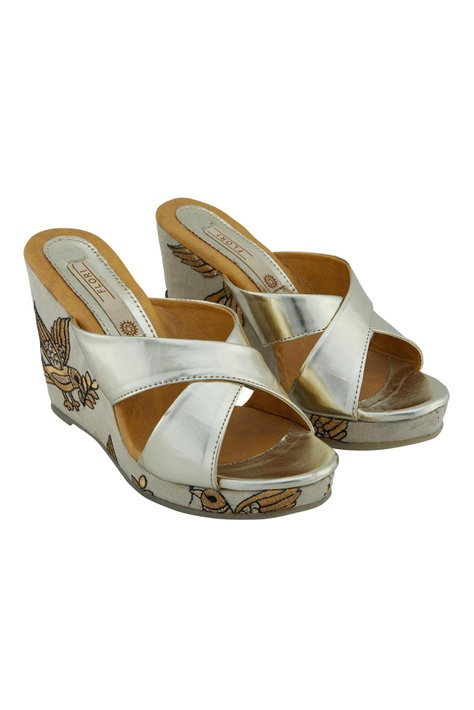 Silver synthetic embroidered wedges