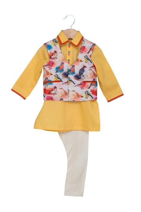 White & yellow khadi linen & cotton silk printed jacket with kurta & chudidar