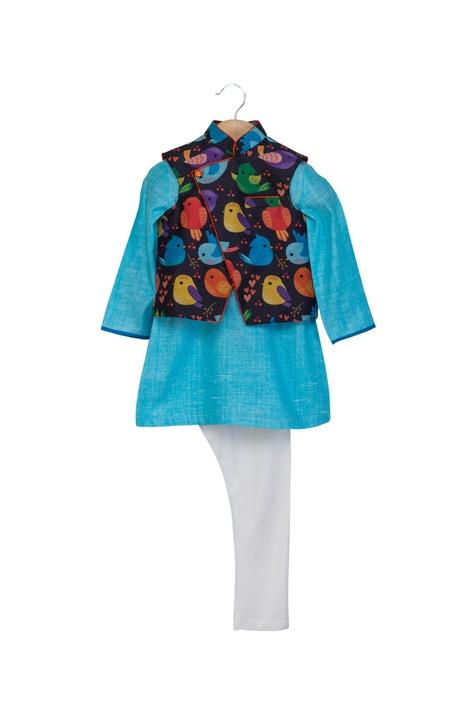 Black & blue khadi linen & cotton silk bird printed jacket with kurta & chudidar
