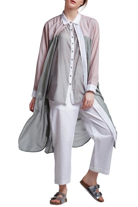 Multi-colored cotton regular layered tunic