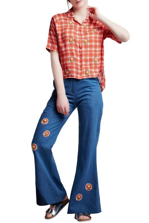 Blue denim regular applique & floral hand embroidered flared jeans