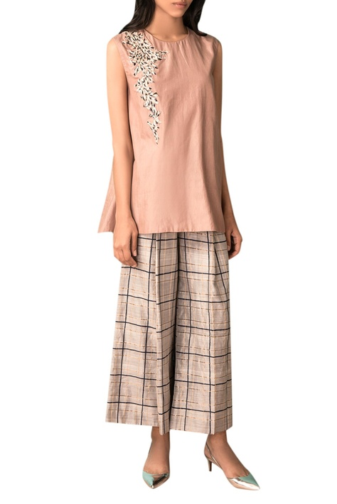 Taupe hand woven cotton silk blouse