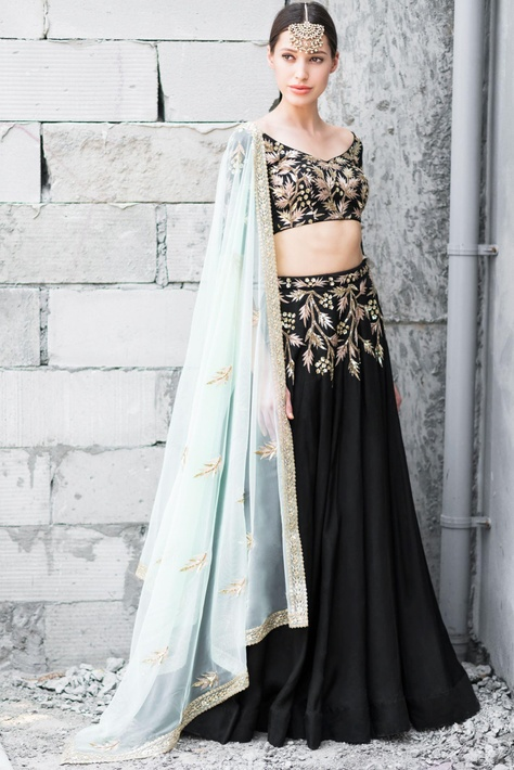 Black & mint green satin cotton sequin & zari work lehenga with blouse and dupatta