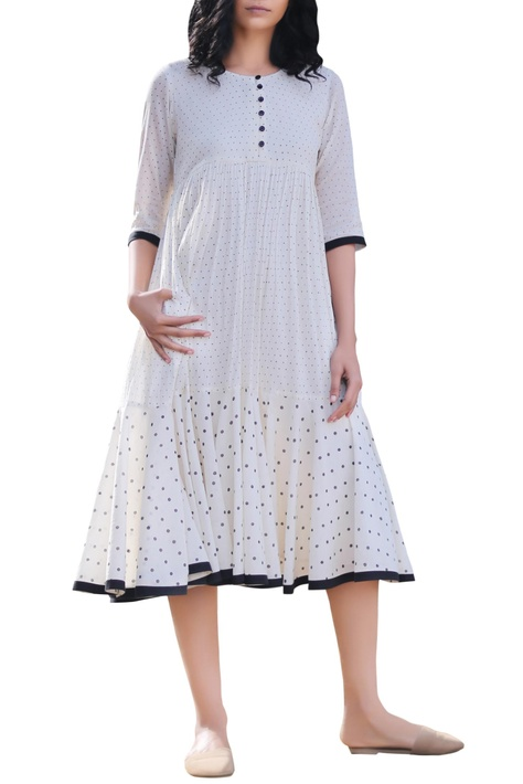 Ivory polka dot printed midi dress
