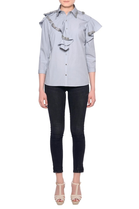 Grey cotton 3D embroidered ruffle detail shirt
