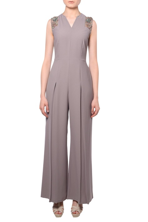 Taupe heavy crepe silk pleated jumpsuit