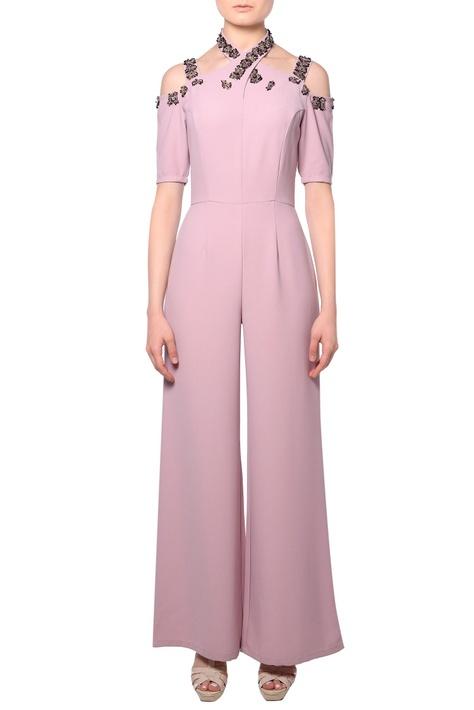 Pink criss-cross heavy crepe silk jumpsuit