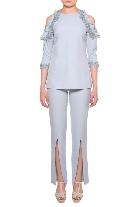 Pale blue heavy crepe cold-shoulder blouse & slit pants co-ordinate set