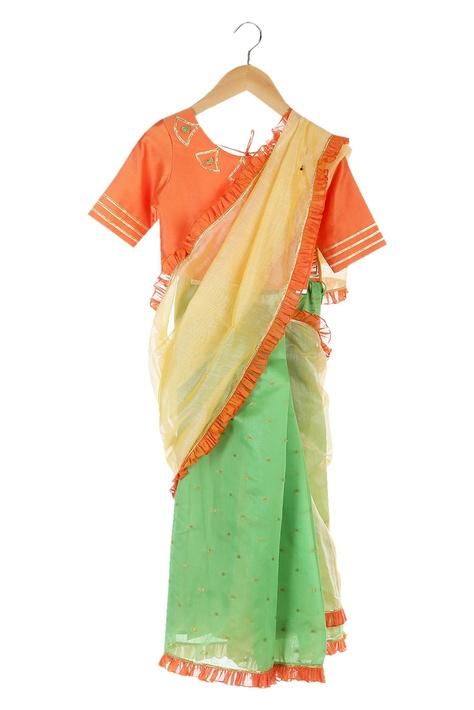 Orange & green ruffle border pre-draped sari with blouse