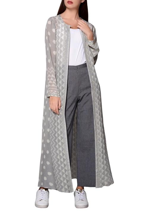 Grey ikat georgette long jacket