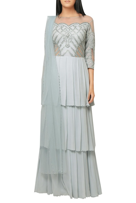 Ocean blue georgette, shantoon layered gown with embroidered yoke & net dupatta.
