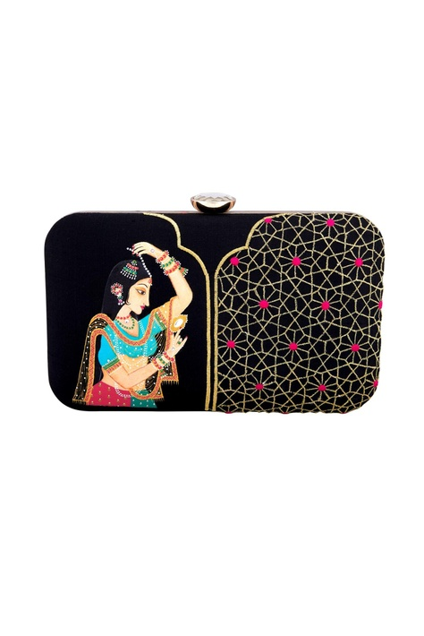 Black mughal queen hand painted & machine embroidered clutch