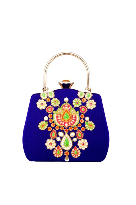 Royal blue brocade mughal-inspired clutch with detachable chain