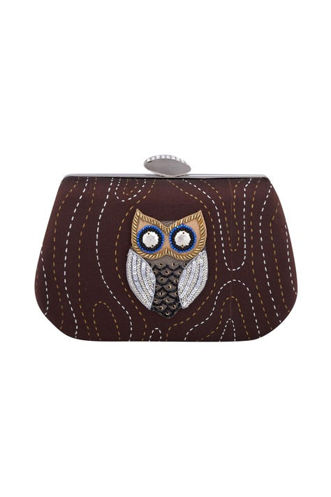Brown owl patchwork rectangle box clutch