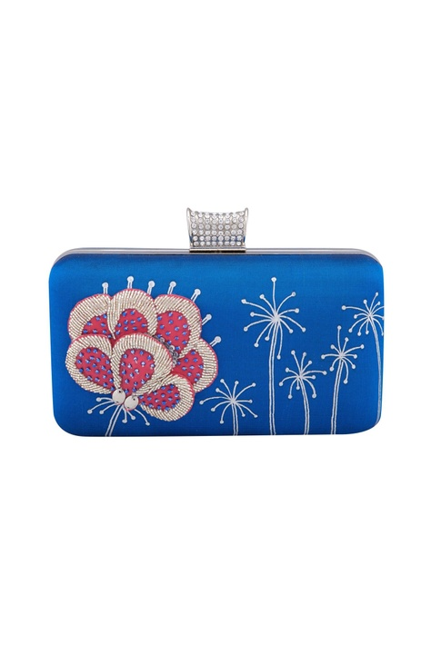 Blue floral patchwork hand-painted clutch