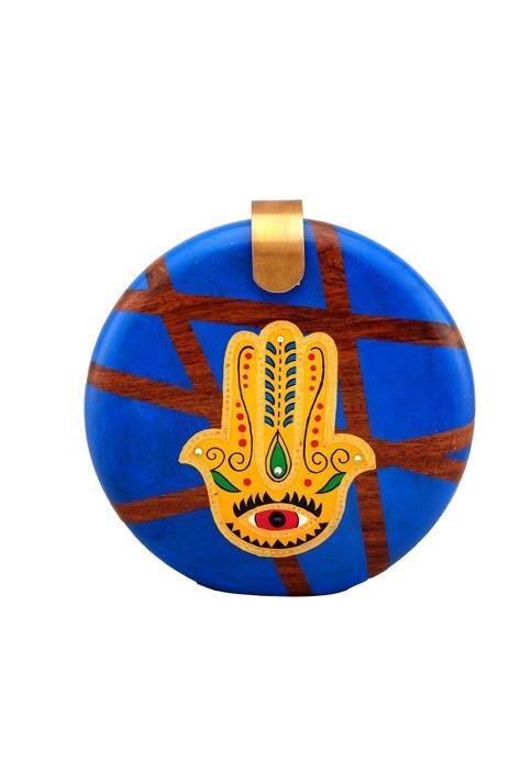 Blue wooden 'hamsa' motif clutch