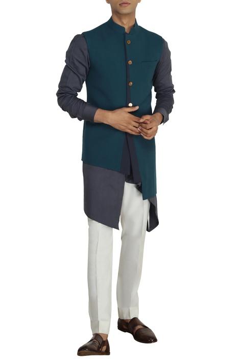 Teal & grey nehru jacket with buckle detail