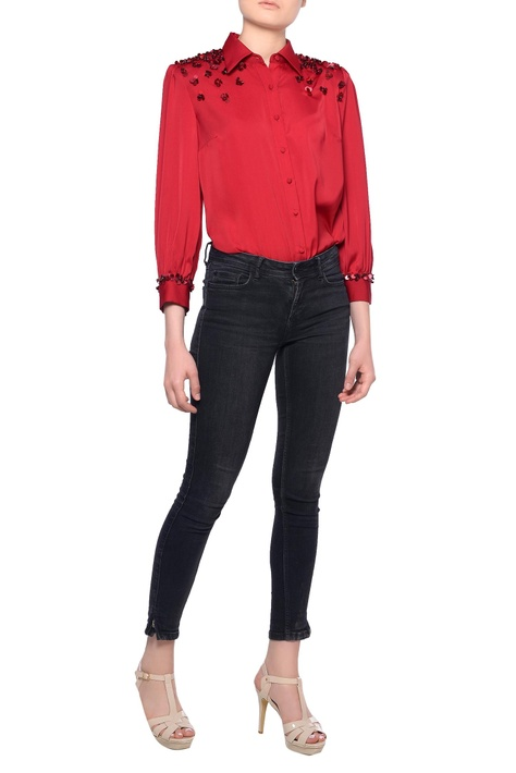 Red long sleeve sequin embroidered blouse
