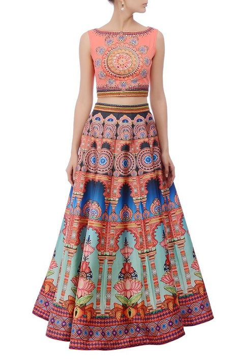 Peachy pink multicolored embroidered lehenga set