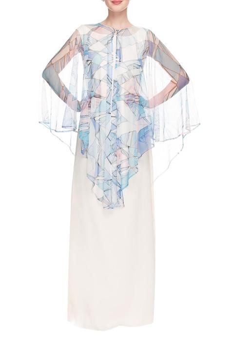 Blue & white geometric printed cape