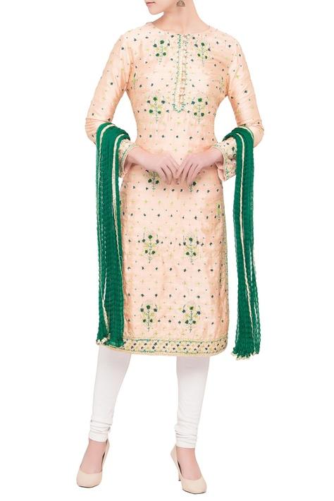 Pink & green viscose silk gota work kurta with dupatta