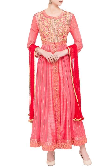 Coral & red viscose silk gota work kurta with dupatta