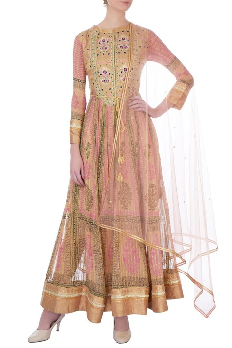Pink & gold gota embroidered anarkali with dupatta