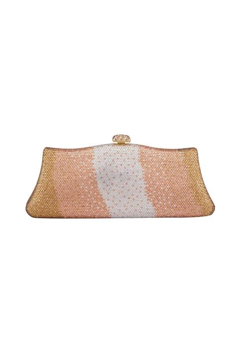 Pink & white metal crystal studded sling bag
