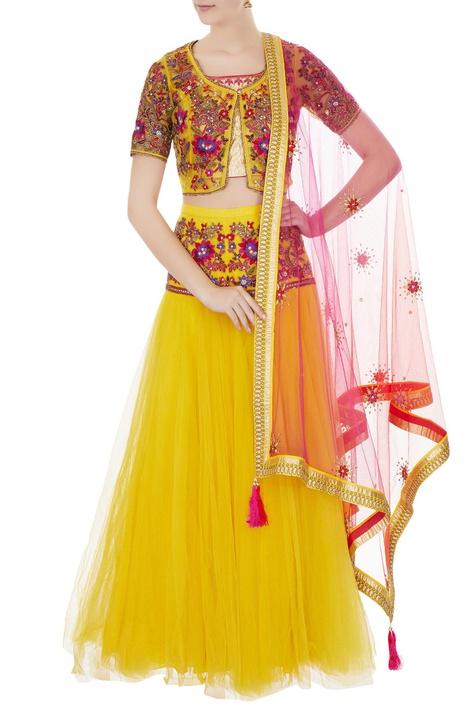 Yellow gota & resham embroidered lehenga set