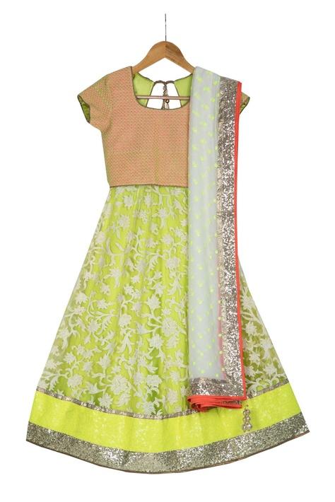 Neon yellow pre-embroidered net lehenga set