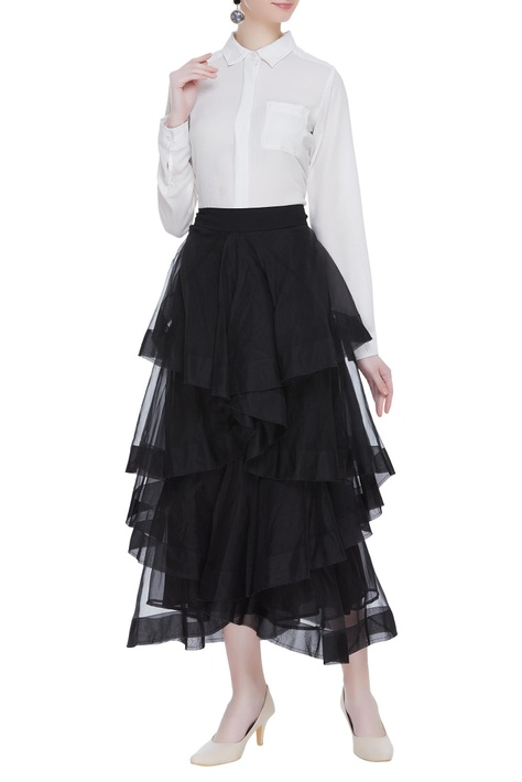 Dramatic draped tiered skirt
