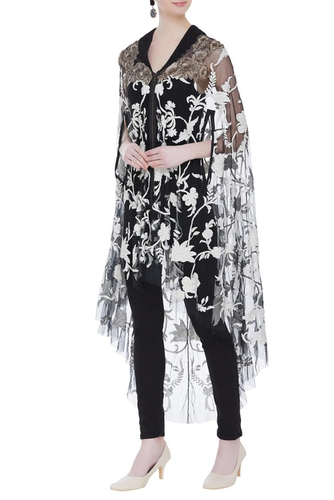 Net zipper style embroidered cape