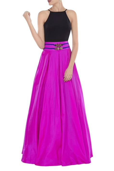 Box pleated skirt with butterfly detail