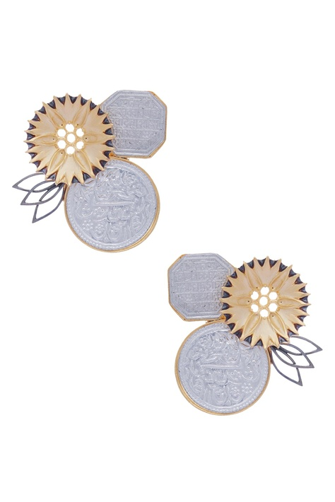 Flower & Coin Stud Earrings