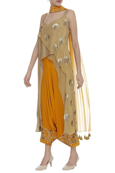 Embroidered draped dhoti pants