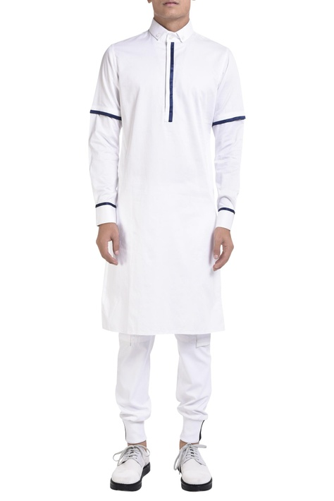Long sleeve kurta with blue detailing