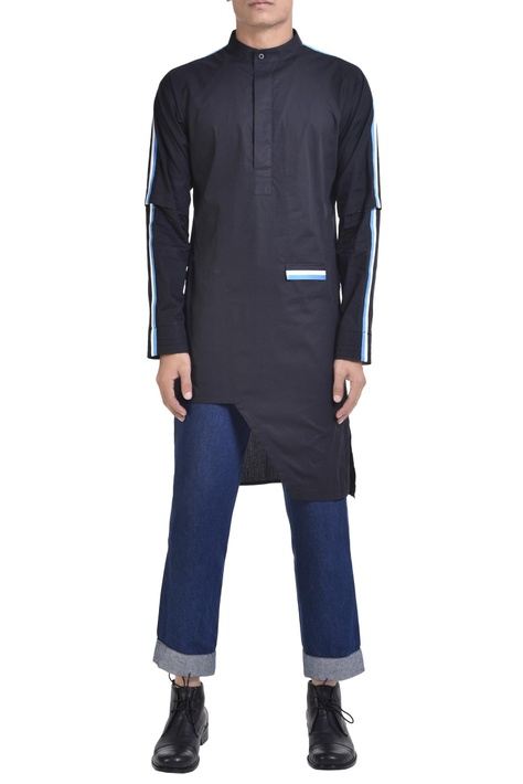 Stripe panel asymmetric kurta