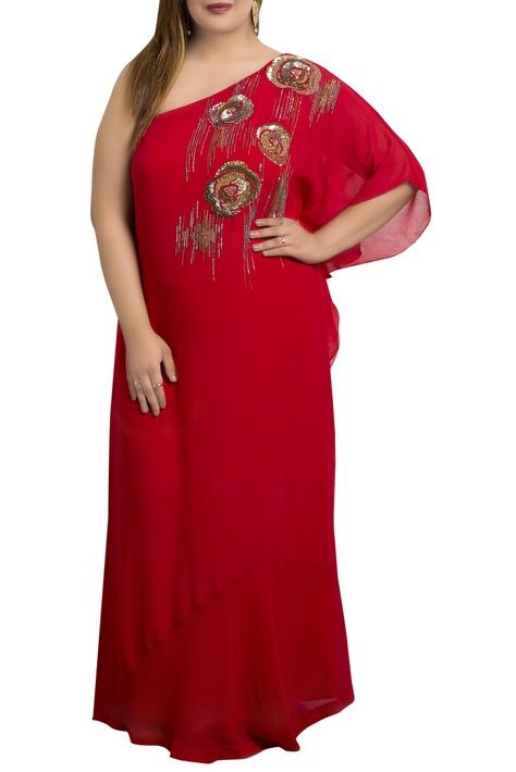 One-shoulder kaftan dress with hand-embroidered sequins work