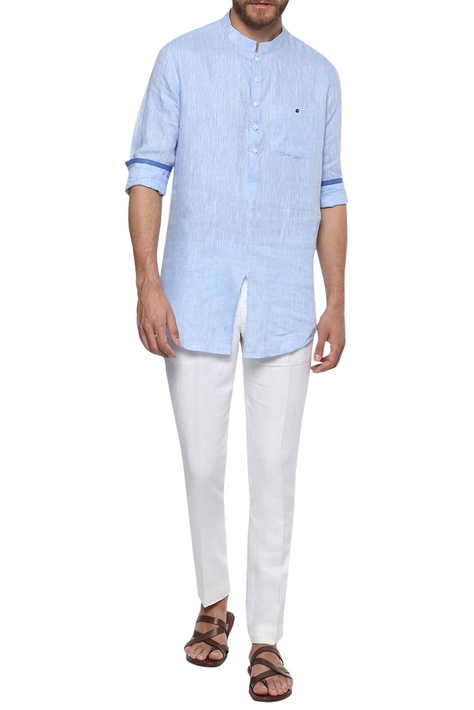 Linen button down shirt with mandarin collar