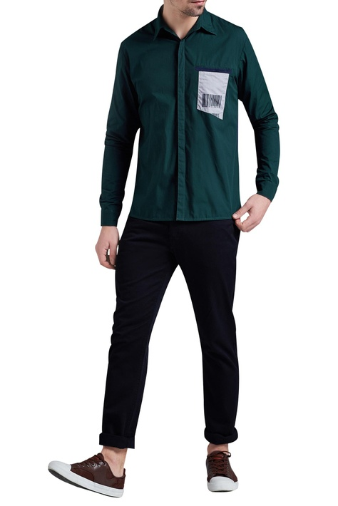 Dual color shirt with patchwork detail