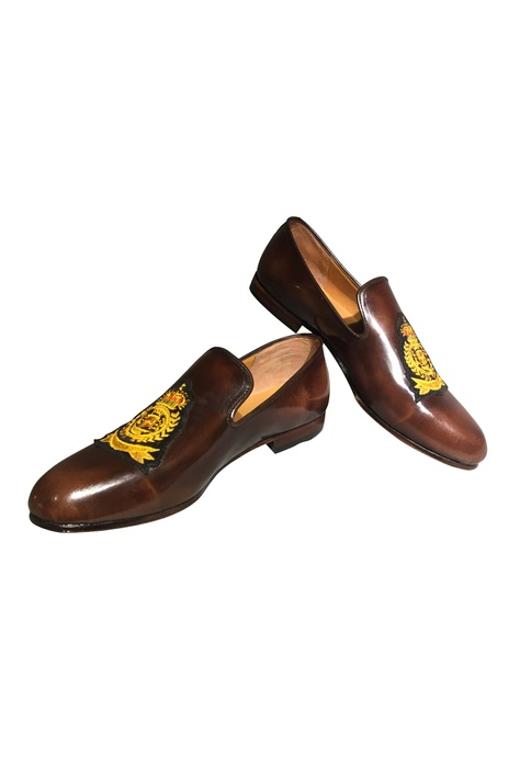 Patchwork brown loafers