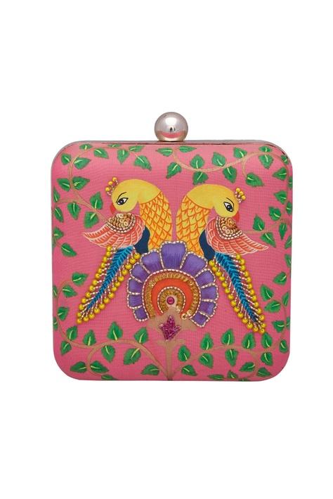 Embroidered parrot motifs clutch