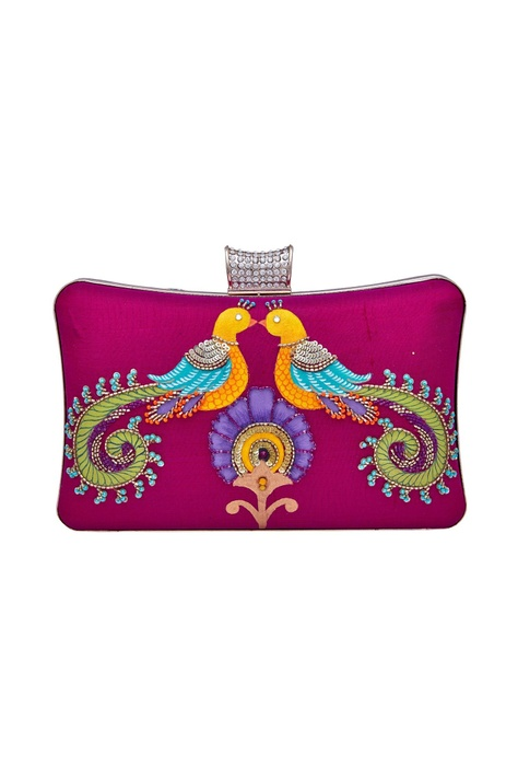 Peacock motif embroidered clutch