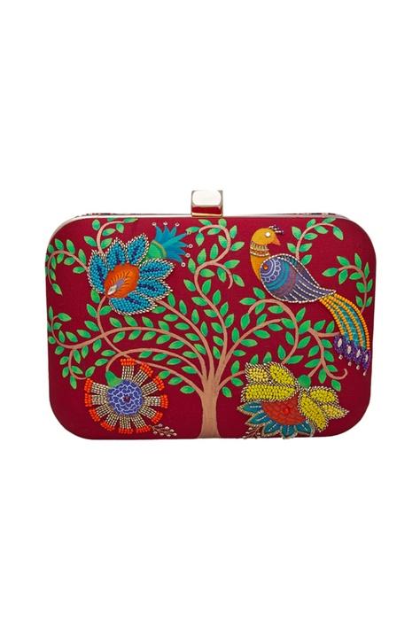 Nature & garden motifs embroidered clutch