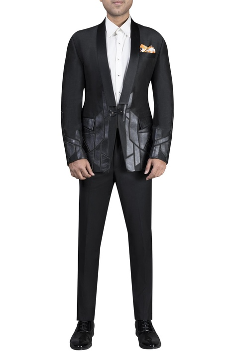 Digital printed jacket paired with shirt & trousers