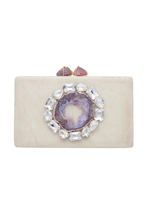 Statement clutch with abalone stone & crystal detailing