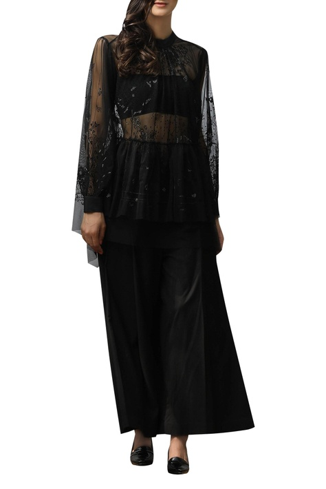 Machine embroidered top with bustier
