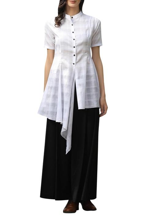 Checkered asymmetric shirt