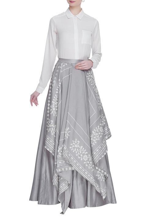 Chanderi layered maxi skirt