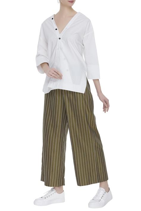 Striped cotton twill culottes